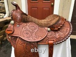 Tex Tan Hereford Western 15-15 1/2 Arabian Silver Laced Round Skirt Saddle