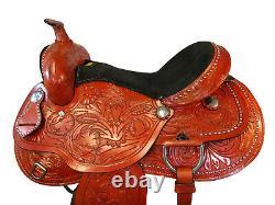Trail Saddle 17 16 15 Pleasure Comfy Floral Tooled Show Western Horse Tack Set