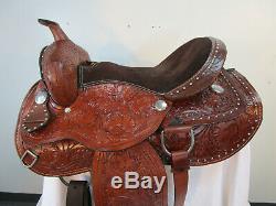 Trail Saddle Western Horse Pleasure Floral Tooled Used Leather Tack Set 15 16