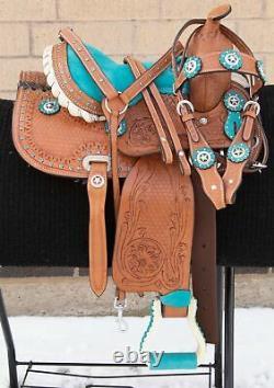Used 10 Youth Kids Pony Leather Tooled Barrel Racing Show Trail Western Saddle