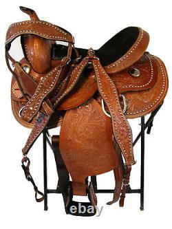 Used 14 15 16 Floral Tooled Horse Pleasure Barrel Racing Western Saddle