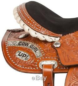 Used 14 15 Western Barrel Racing Trail Show Silver Horse Leather Saddle Tack