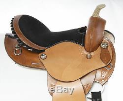Used 14 Seat Western Barrel Racing Pleasure Trail Comfy Leather Horse Saddle