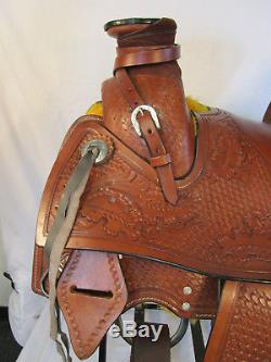 Used 15 16 17 Wade Roper Western Pleasure Leather Horse Roping Ranch Saddle