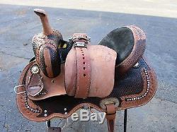 Used 15 16 Barrel Racing Baste Weave Tooled Trail Show Western Horse Saddle