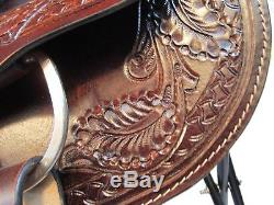 Used 15 16 Western Trail Horse Show Tooled Leather Dark Brown Barrel Saddle Tack