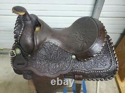 Used 15 Brown Leather Western Equitation Saddle withSilver and Tooling all Over