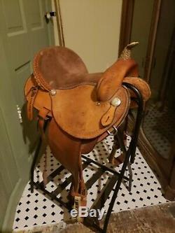 Used 15 Johnny Ruff Custom Barrel Trail Western Horse Saddle Made in USA