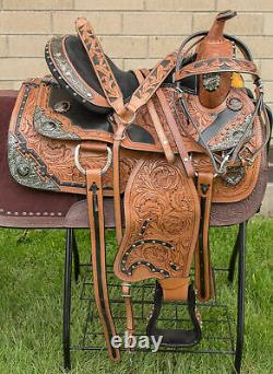 Used 15 Silver Hand Carved Premium Western Show Leather Horse Saddle Tack Set