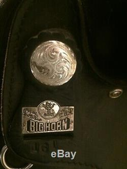 Used 15 black leather & Cordura Big Horn Western saddle. Buyer pays shipping