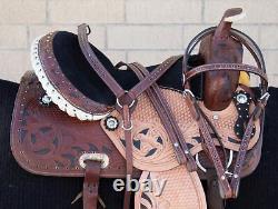 Used 16 17 Barrel Trail Western Leather Horse Saddle Barrel Racing Tack Set