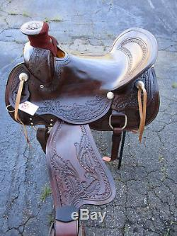 Used 16 17 Wade Ranch Roping Pleasure Trail Tooled Leather Western Horse Saddle