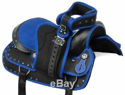Used 16 Blue Western Horse Saddle Tack Barrel Racer Trail Riding