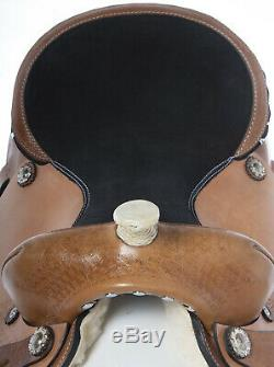 Used 16 Close Contact Western Leather Tooled Barrel Racing Trail Horse Saddle