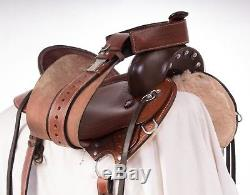 Used 16 Comfy Brown Hand Tooled Western Leather Endurance Trail Horse Saddle