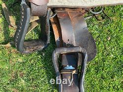 Used 16 Dakota Western roping saddle border tooled dark oil leather US made