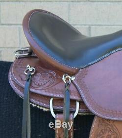 Used 16 Extra Comfortable Western Trail Endurance Leather Tooled Horse Saddle