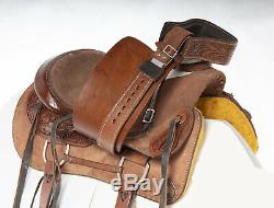 Used 16 Rough Out Wade Tree Roping Ranch Work Western Leather Horse Saddle