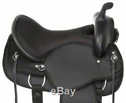 Used 16 Silver Show Western Synthetic Cordura Trail Barrel Comfy Horse Saddle
