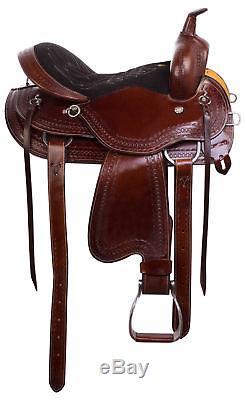 Used 17 Western Pleasure Trail Leather Horse Saddle Comfy Seat Tooled Tack Set
