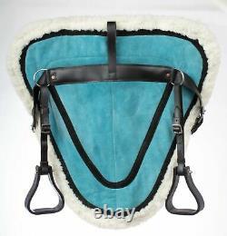 Used Blue Treeless Western English Bareback Riding Pad Saddle Stirrups Girth