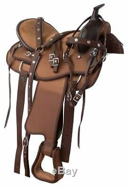Used Brown 16 Pleasure Trail Riding Western Synthetic Cordura Horse Saddle