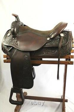 Used Circle Y 17 Park and Trail Dark Oil Western Saddle With Breast Collar FQHB