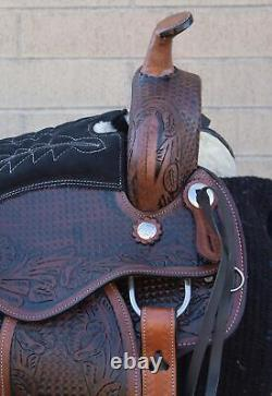 Used Comfy Pleasure Trail Western Tooled Leather Horse Saddle Tack Set 16 17 18