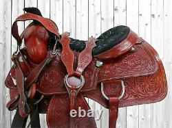 Used Cowboy Western Roping Saddle Horse Ranch Floral Tooled Leather 15 16 17 18