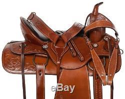 Used Gaited Tooled Western Pleasure Trail Horse Leather Saddle Tack 15
