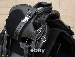 Used Gaited Western Black Leather Horse Saddle Tack 16 Trail Endurance