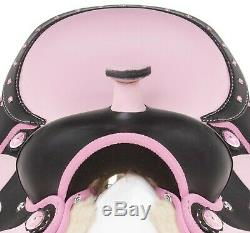 Used Pink Western Pleasure Trail Riding Synthetic Horse Saddle Tack Set 15 16