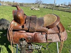 Used/Vintage 15.5 TexTan Western saddle padded half seat