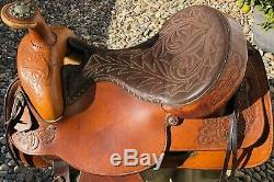 Used Vintage Brown 16 HEREFORD TEXTAN WESTERN Horse SADDLE Leather
