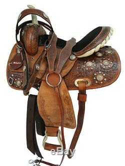 Used Western Horse Leather Saddle Tack Set Floral Tooled Barrel Show Trail Rodeo