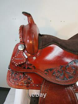 Used Western Saddle 17 16 15 Pleasure Horse Barrel Racing Floral Tooled Tack Set
