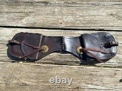 Used/antique Collins & Morrison leather Western saddle bags