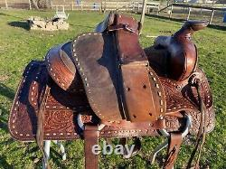 Used/vintage Big Horn 15 buckstitched & /tooled Western trail /pleasure saddle