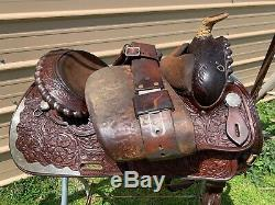 Used/vintage Circle Y 15 Western saddle tooled leather US made good condition
