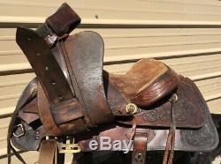 Used/vintage Simco 15 tooled leather Western trail / pleasure saddle US made