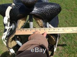 Used/vintage/antique 14.5 Ozark Western hard seat black parade/pleasure saddle