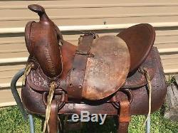 Used/vintage/antique 15 hard seat high back Western saddle US made