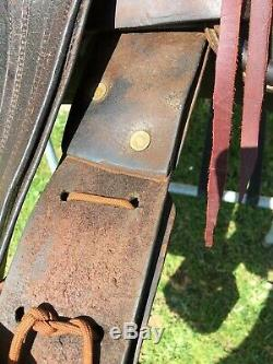 Used/vintage/antique 16 slick seat Western high back ranch saddle