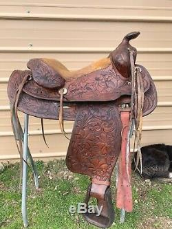 Used/vintage hand made L. White 15 /15.5 Western saddle tooled leather US made