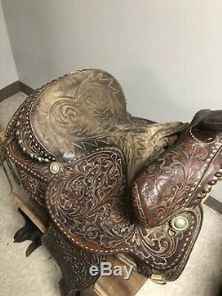Vintage 15 IMPERIAL Tex Tan Leather Co Detailed Western Saddle SEE Pictures