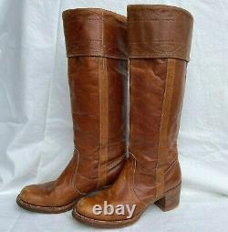 Vintage 1970s Frye Tall Leather Boots Women Saddle Tan 8509 Size 9 Black Label