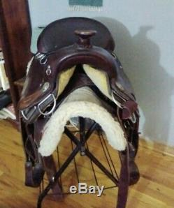 Vintage 1980s Circle Y Endurance Saddle used Western with Pad Brown Leather USA