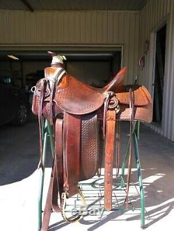 Vintage Handmade Custom Western Saddle 16 seat