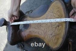 Vintage Hereford Brand Tex Tan of Yoakum Western Saddle Leather tooling