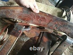 Vintage Hereford Brand Tex Tan of Yoakum Western Saddle Leather tooling 15 inche
